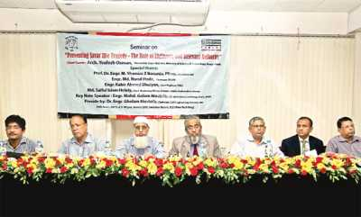 Speakers at a seminar titled 'Preventing Savar like Tragedy: The Role of Engineering and Relevant Authority' at ERC Seminar Room at IEB in the city on Saturday. Rajuk Chairman Md Nurul Huda, Chief Marketing Officer of Cement Sector, Bashundhara Group, Md Saiful Islam Helaly, Engr Mohammad Ali Masud Haider, Abdul Kayum, Engr Shamim Z Bosunia, Engr Golam Mustafa and Engr Zakir Hossain attended the seminar. Bashundhara Cement organised the event.