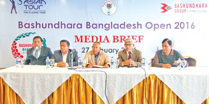 2nd Bashundhara Bangladesh Open 2016 Organising Committee Member and Media Committee Chairman Brigadier General (retd) Salim Akhtar, Bangladesh Golf Federation (BGF) Joint Secretary Brigadier General (retd) Mohammad Obaidul Haque and Golf Club Tournament Committee President Brigadier General (retd) Abidur Reza Khan, Bashundhara Group Head of Brand Selim Ullah Selim and Manager Saiful Islam Rubel captured during a press conference at Kurmitola Golf Club on Wednesday