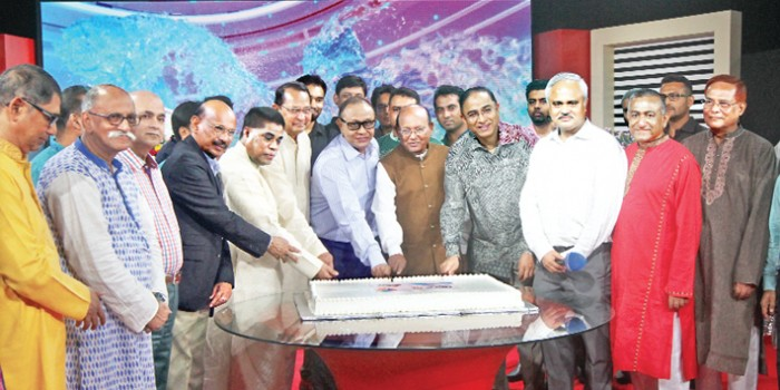 Commerce Minister Tofail Ahmed, Information Minister Hasanul Huq Inu and Bashundhara Group Chairman Ahmed Akbar Sobhan cut a cake at a function arranged in celebration of the first anniversary of satellite television channel News24 at its office in Bashundhara residential area in the capital on Friday. ATN Bangla and ATN News Chairman Dr Mahfuzur Rahman, Additional IG (SB) Javed Patwary and News24 CEO Naem Nizam, among others, were present